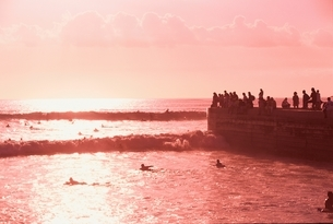オアフ島の海と泳ぐ人 ハワイの写真素材 [FYI03004316]