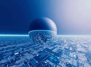 球体と未来都市と地平線(青) CGのイラスト素材 [FYI03004326]