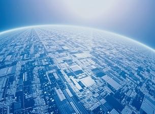 地球表面と未来都市(青) CGのイラスト素材 [FYI03004328]