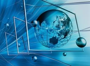 地球と球体 ネットワークイメージ CGの写真素材 [FYI03004352]