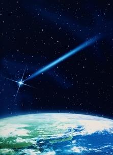 地球と流れ星のイメージの写真素材 [FYI03004408]