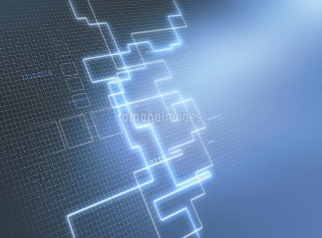 方眼図と光の回路(青) CGのイラスト素材 [FYI03004438]