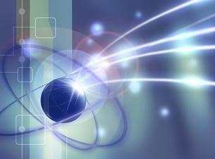 メタリックな球体とリング(青) CGのイラスト素材 [FYI03004444]