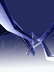 設計図とメタリックなオブジェ(青) CGのイラスト素材 [FYI03004449]