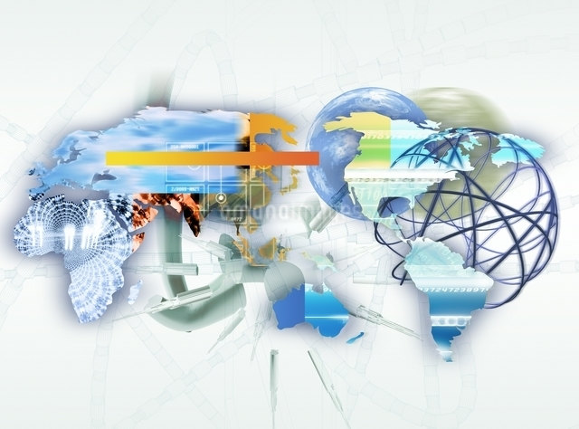 世界地図と球状ネットワーク CGのイラスト素材 [FYI03004455]