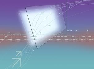 ガラス版と矢印と線形のオブジェ CGのイラスト素材 [FYI03004462]