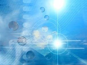 光と線形と球状(水色) CGのイラスト素材 [FYI03004465]