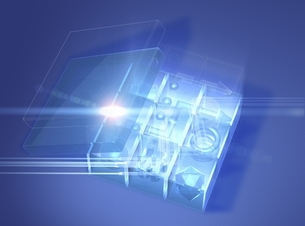 箱と光線(青) CGのイラスト素材 [FYI03004467]