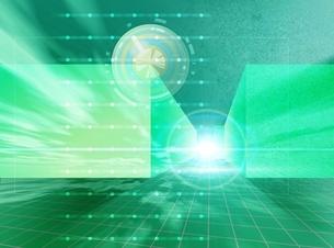 光とキューブと升目(黄緑) CGのイラスト素材 [FYI03004468]