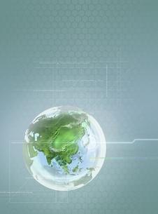 地球と線形(グレー) CGのイラスト素材 [FYI03004471]