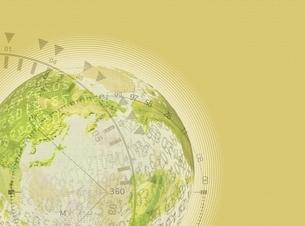 地球と度数目盛り(黄色) CGのイラスト素材 [FYI03004473]