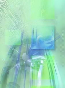 キューブパターンとライン(水色) CGのイラスト素材 [FYI03004474]