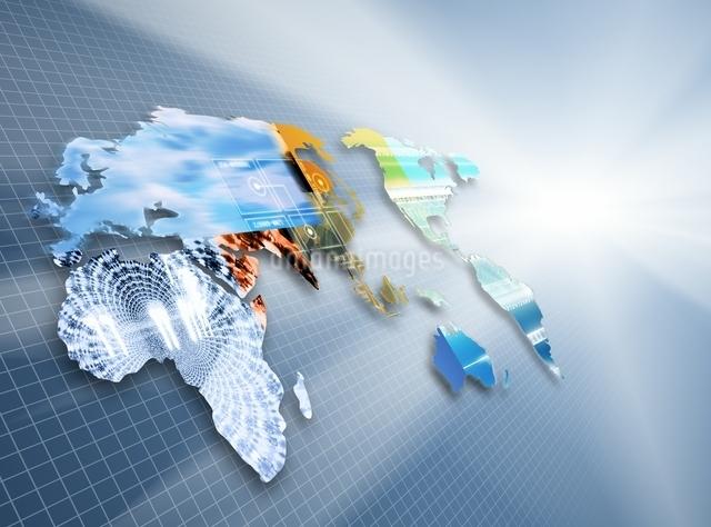 方眼紙と世界地図と光 CGのイラスト素材 [FYI03004475]