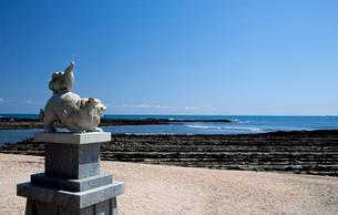 青島神社の狛犬と鬼の洗濯板の写真素材 [FYI03004668]
