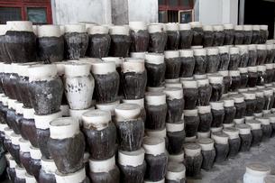 紹興酒工場の壺の写真素材 [FYI03004836]