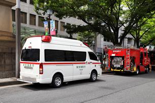 救急車と消防車の写真素材 [FYI03005177]