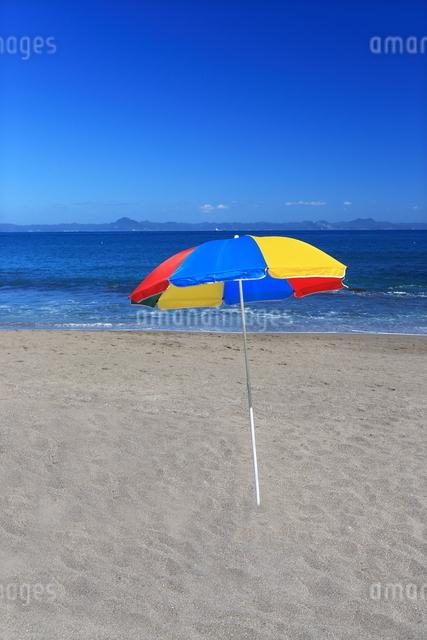 大浦海水浴場のビーチパラソルの写真素材 [FYI03005291]