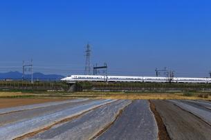 秋の畑と東海道新幹線の写真素材 [FYI03005337]