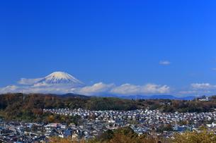 富士山と住宅街の写真素材 [FYI03005543]