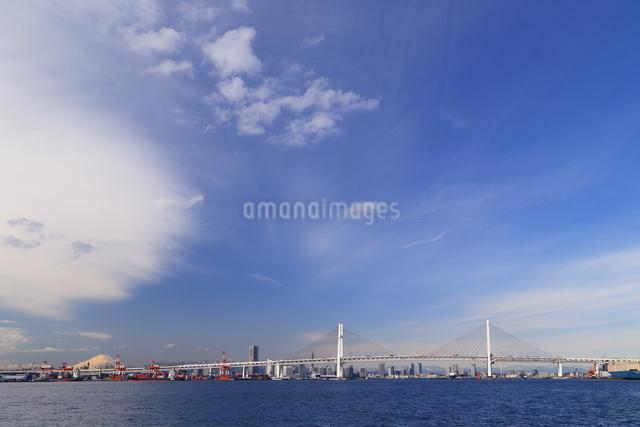 富士山が見える本牧埠頭とベイブリッジの写真素材 [FYI03005703]