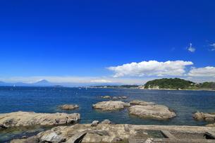 葉山港から望む夏富士の写真素材 [FYI03005879]