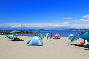 夏富士を望む森戸海水浴場の写真素材 [FYI03005880]