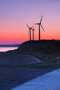 朝の風力発電とホワイトビーチの写真素材 [FYI03006262]