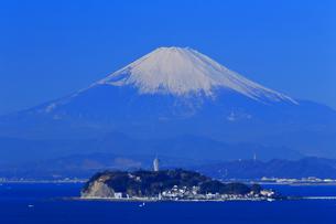 大崎公園から望む富士山と江の島の写真素材 [FYI03006279]
