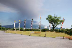 噴煙上る桜島と仙巌園の写真素材 [FYI03011820]