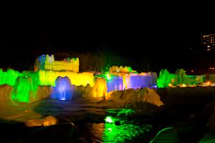 層雲峡氷瀑まつり,ライトアップの写真素材 [FYI03012033]