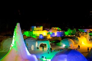 層雲峡氷瀑まつり,ライトアップの写真素材 [FYI03012037]