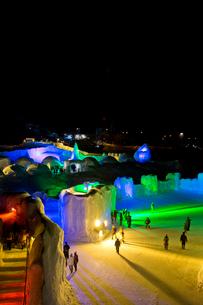 層雲峡氷瀑まつり,ライトアップの写真素材 [FYI03012041]