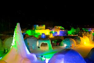 層雲峡氷瀑まつり,ライトアップの写真素材 [FYI03012043]