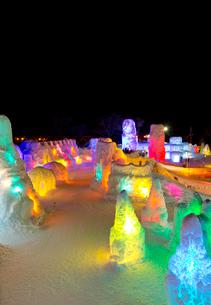 支笏湖氷濤まつり,ライトアップの写真素材 [FYI03012070]