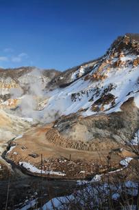冬の登別地獄谷の写真素材 [FYI03012237]