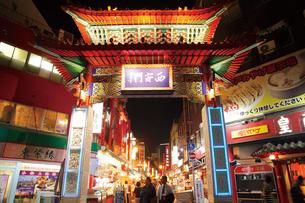 南京町の神戸中華街にある西安門の写真素材 [FYI03012755]