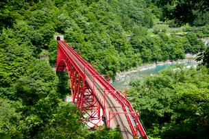 やまびこ展望台より眺める黒部峡谷トロッコ列車の写真素材 [FYI03013489]