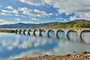 糠平湖にあるタウシュベツ川橋梁の写真素材 [FYI03014135]