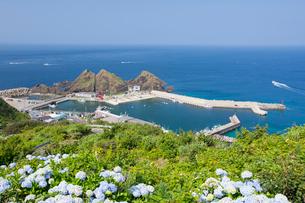 竜飛崎より竜飛漁港を望むの写真素材 [FYI03014322]