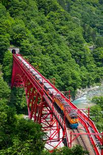 やまびこ展望台より黒部渓谷トロッコ電車を望むの写真素材 [FYI03014534]