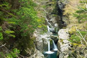 勢い良く水が流れるみたらい滝の写真素材 [FYI03015503]