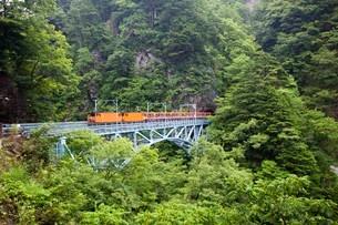 後曳橋を走行中の黒部峡谷トロッコ列車の写真素材 [FYI03015872]