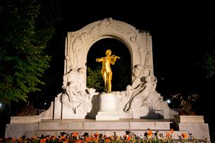 ヨハンシュトラウス市立公園の記念碑のライトアップの写真素材 [FYI03016402]