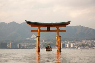 夕景の宮島 嚴島神社の大鳥居の写真素材 [FYI03017011]