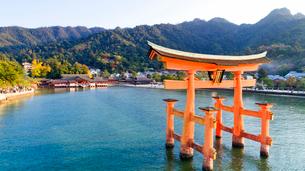 上空から眺める宮島 嚴島神社の大鳥居と社殿の写真素材 [FYI03017033]