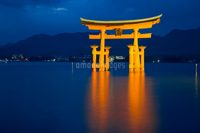 夜の宮島 嚴島神社の大鳥居 ライトアップの写真素材 [FYI03017037]