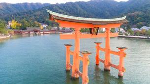 上空から眺める宮島 嚴島神社の大鳥居と社殿の写真素材 [FYI03017040]