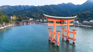 上空から眺める宮島 嚴島神社の大鳥居と社殿の写真素材 [FYI03017068]
