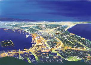 函館山からのぞむ壮大で美しい夜景のイラスト素材 [FYI03017540]