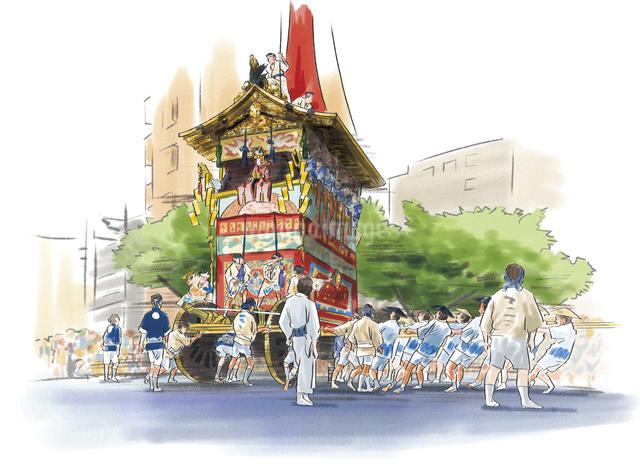 祇園祭 山鉾巡行と人々のイラスト素材 [FYI03017541]